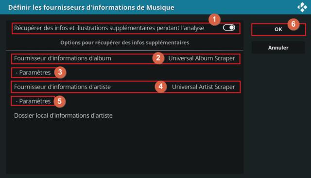 """Capture d'écran de l'application Kodi, fenêtre """"Définir les fournisseurs d'informations de Musique""""."""