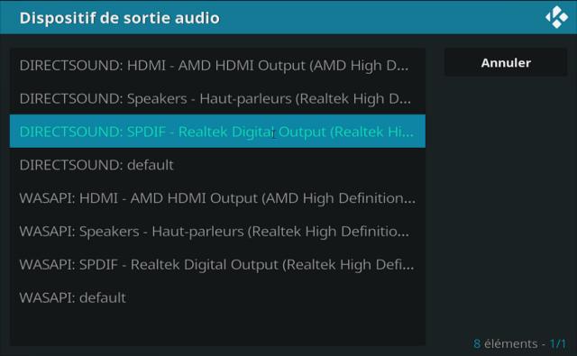 Capture d'écran de l'application Kodi, liste de dispositifs de sortie audio de l'onglet Audio des paramètres système.