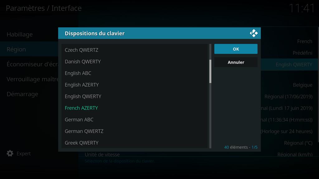 """Capture d'écran de l'application Kodi, paramètre disposition du clavier, seule la ligne """"French AZERTY"""" est verte."""