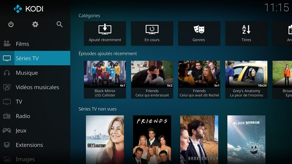 """Capture d'écran de l'application Kodi, écran d'accueil """"Séries TV""""."""