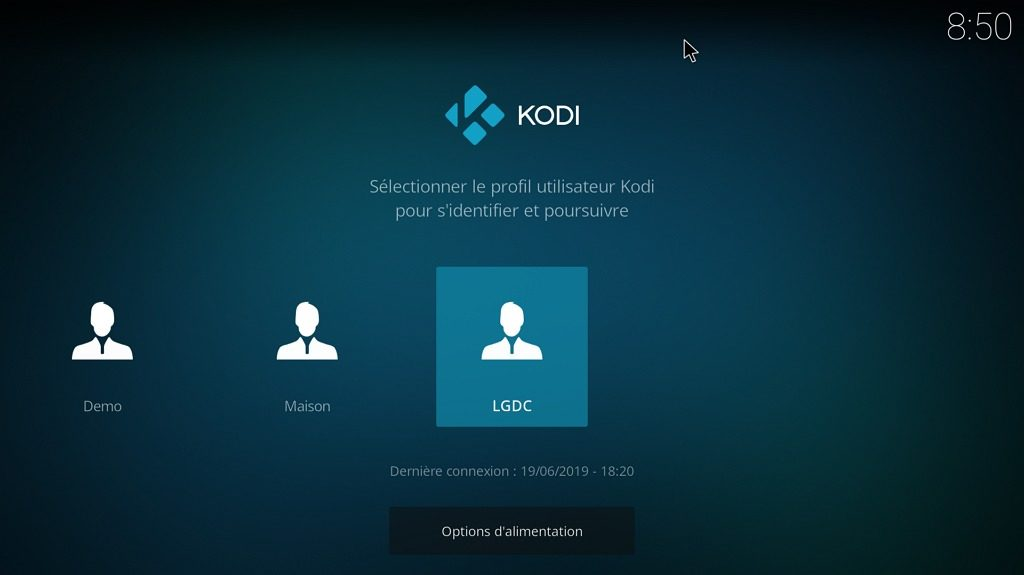 Capture d'écran de l'application Kodi, écran d'identification au démarrage.