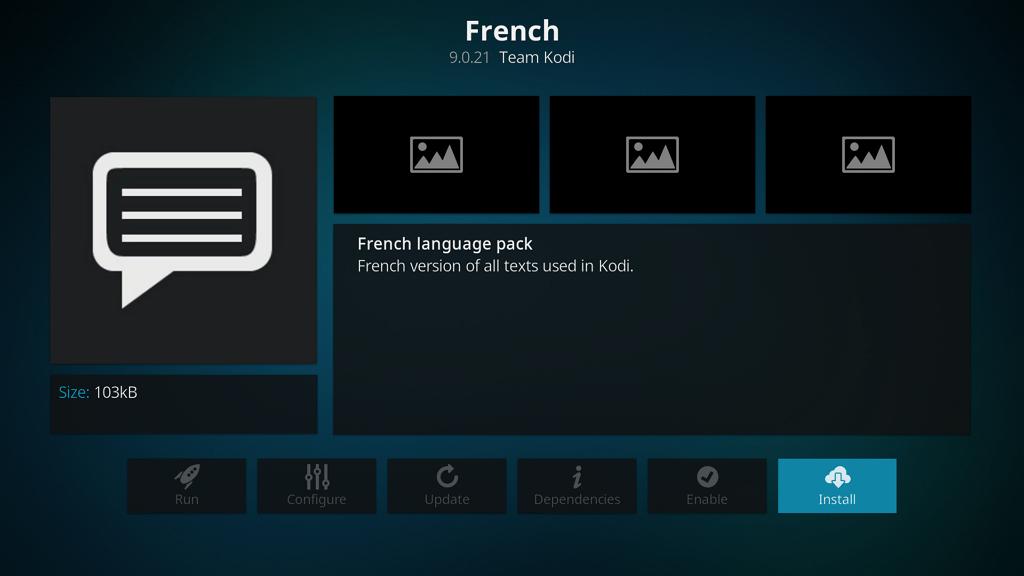 """Capture d'écran de l'application Kodi, écran de l'extension """"French"""" (langue française). La version de l'extension est affichée ainsi que les dévellopeurs de l'add-on."""