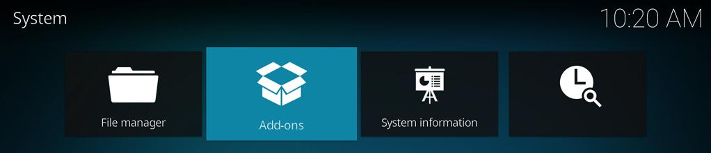 """Capture d'écran de l'application Kodi, écran """"System"""", élément """"Add-ons"""" sélectionné."""