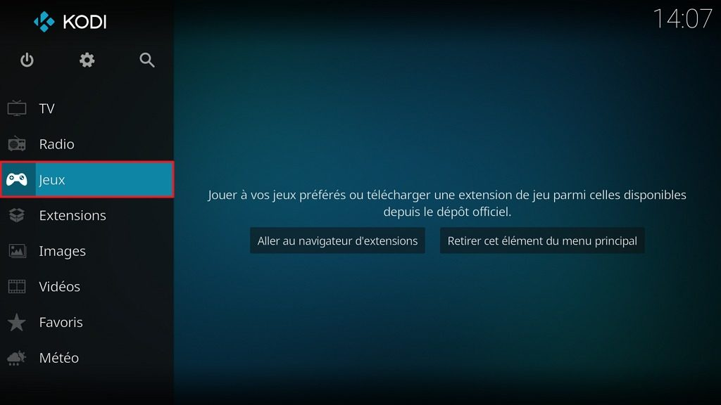 """Capture d'écran de l'application Kodi, élément """"Jeux"""" de l'écran d'accueil."""