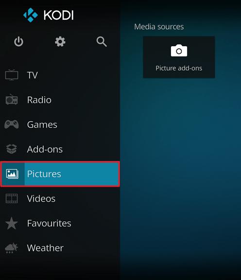 """Capture d'écran de l'application Kodi, élément """"Pictures"""" mis en surbrillance sur le menu principal."""