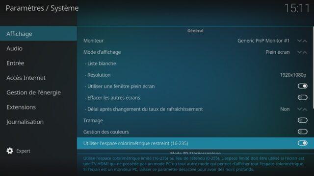 """Capture d'écran de l'application Kodi, réglage """"espace colorimétrique restreint"""" activé."""