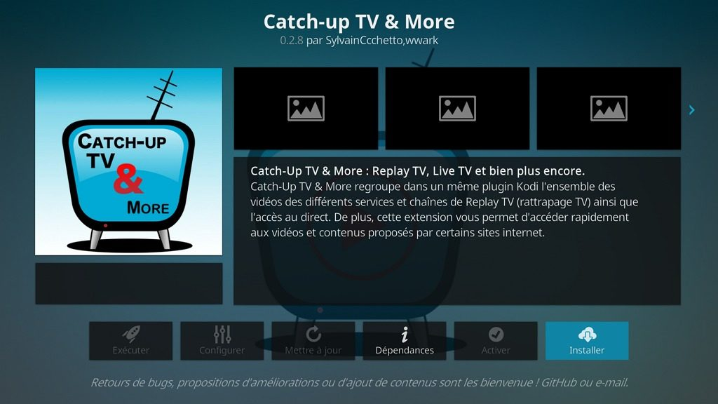 "Capture d'écran de l'application Kodi, bouton ""Installer"" l'extension ""Catch-up TV & More""."