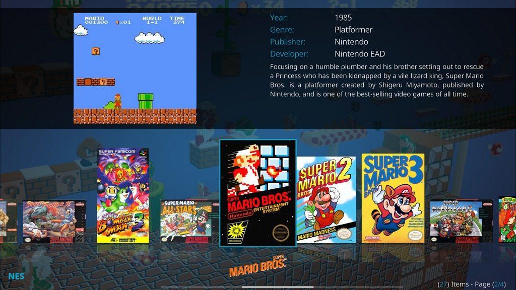 """Capture d'écran de l'application Kodi, extension jeu """"Rom Collection Browser""""."""