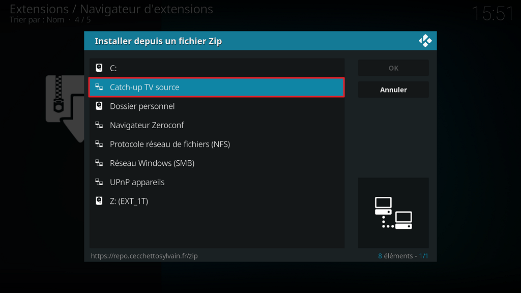 "Capture d'écran de l'application Kodi, fenêtre ""Installer depuis un fichier Zip""; source ""Catch-up"" listée."