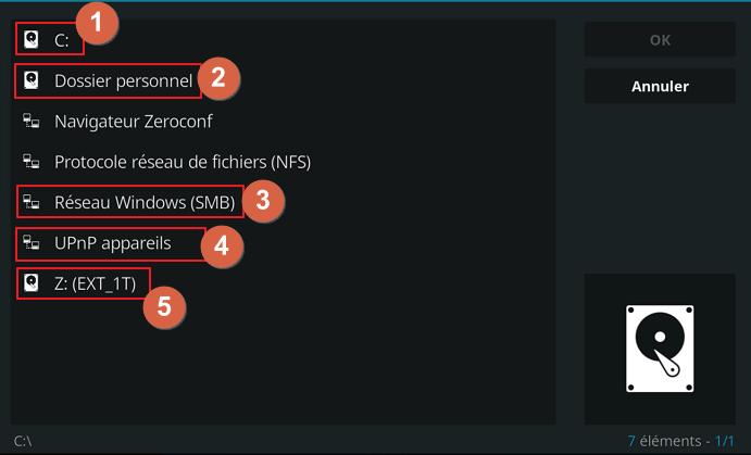 """Capture d'écran de l'application Kodi, fenêtre """"Parcourir"""""""
