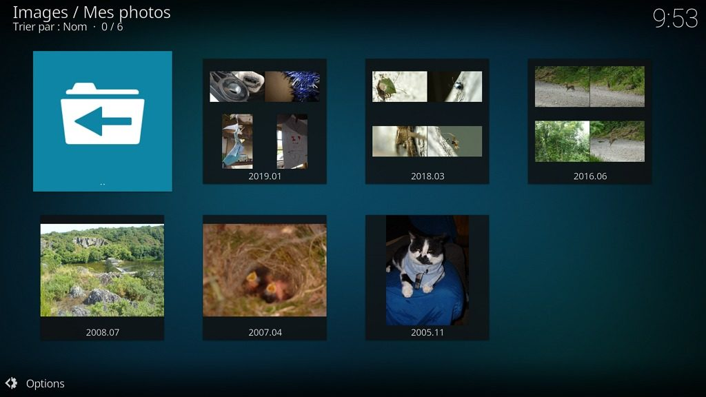 Capture d'écran de l'application Kodi, albums photos.