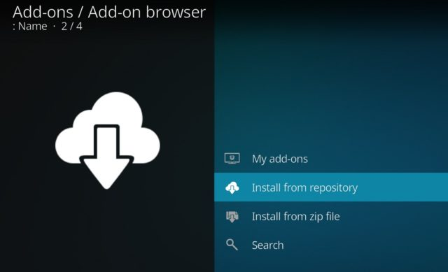 """Capture d'écran de l'application Kodi, écran """"navigateur add-ons"""", """"Install from repository"""" sélectionné"""