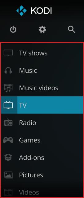 Capture d'écran de l'application Kodi, menu principal de l'écran d'accueil.