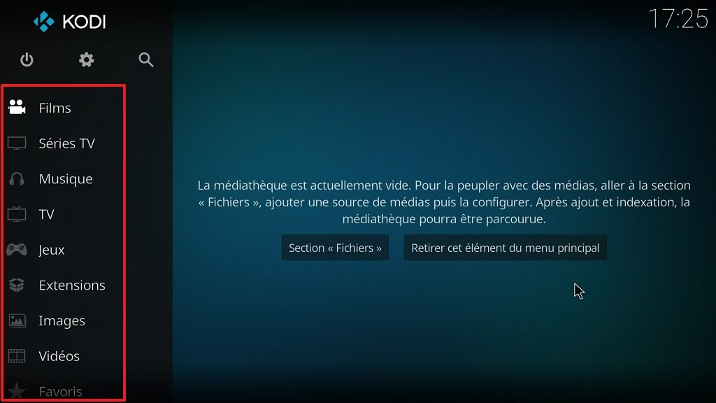 Capture d'écran de l'application Kodi, menu principal personnalisé.