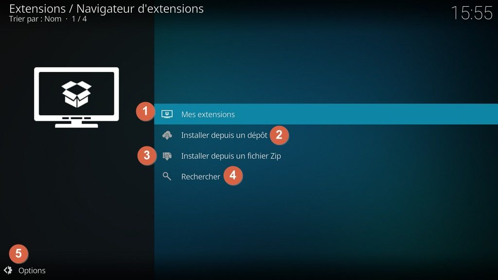 "Capture d'écran de l'application ""Kodi"", navigateur d'extensions."