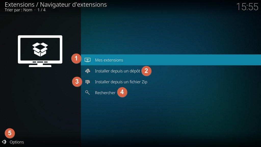 "Capture d'écran de l'application ""Kodi"", navigateur d'extensions."