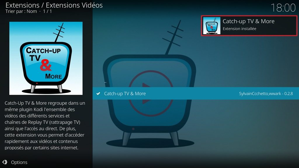 "Capture d'écran de l'application Kodi, notification ""Catch-up TV & More"" installée"