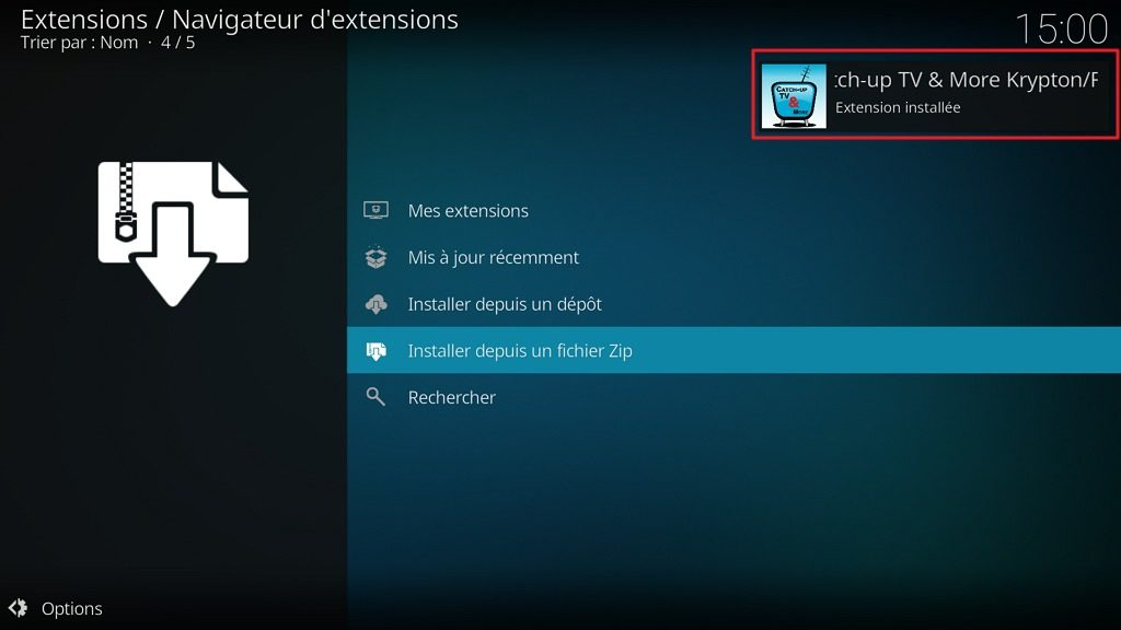 "Capture d'écran de l'application Kodi, notification ""Extension installée"" pour le dépôt ""Catch-up TV & More""."
