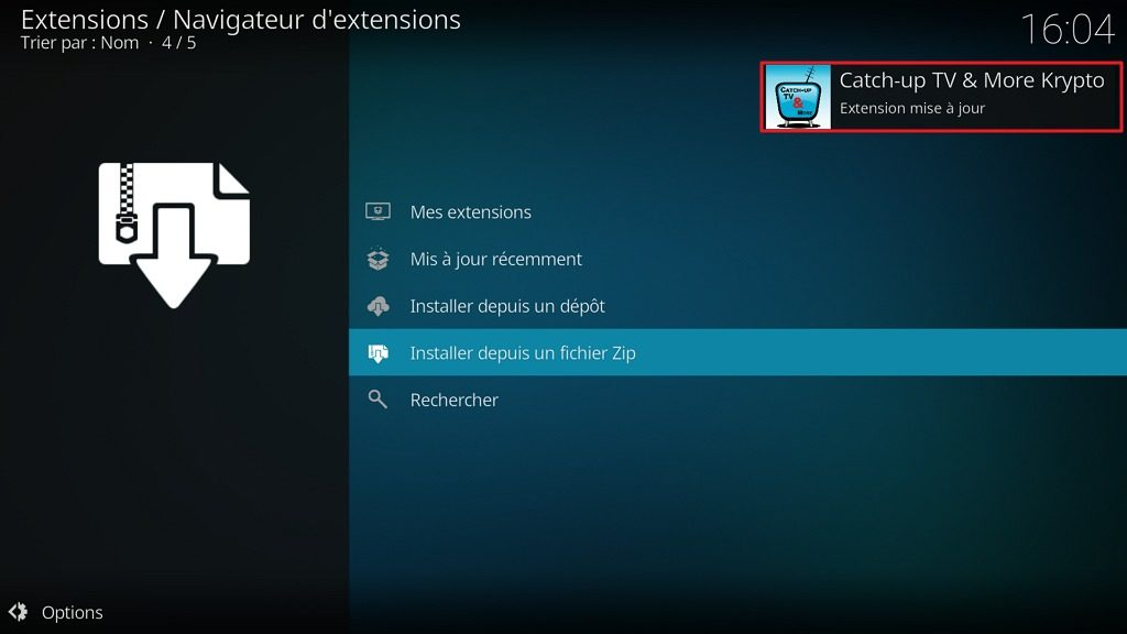 "Capture d'écran de l'application Kodi, notification ""Catch-up TV : Extension mise à jour""."