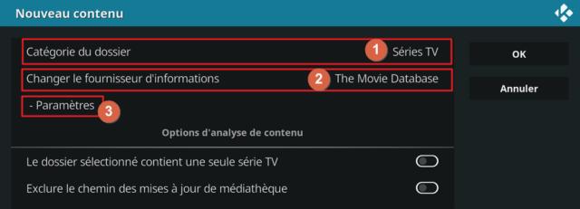 """Capture d'écran de l'application Kodi, fenêtre """"Nouveau contenu""""."""