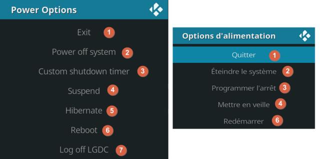 Capture d'écran de l'application Kodi, options d'alimentation.