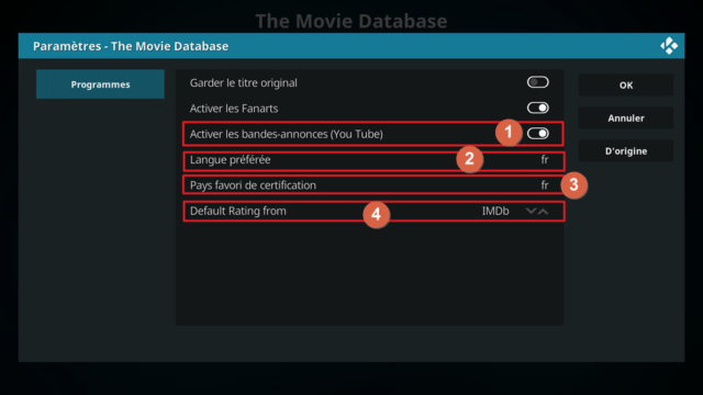 "Capture d'écran de l'application Kodi, paramètres de l'extension ""The Movie Database""."