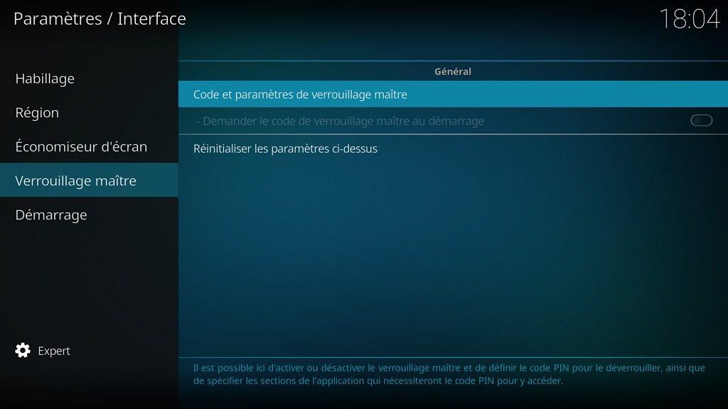 """Capture d'écran de l'application Kodi, onglet """"Verrouillage maître"""" des paramètres """"Interface""""."""