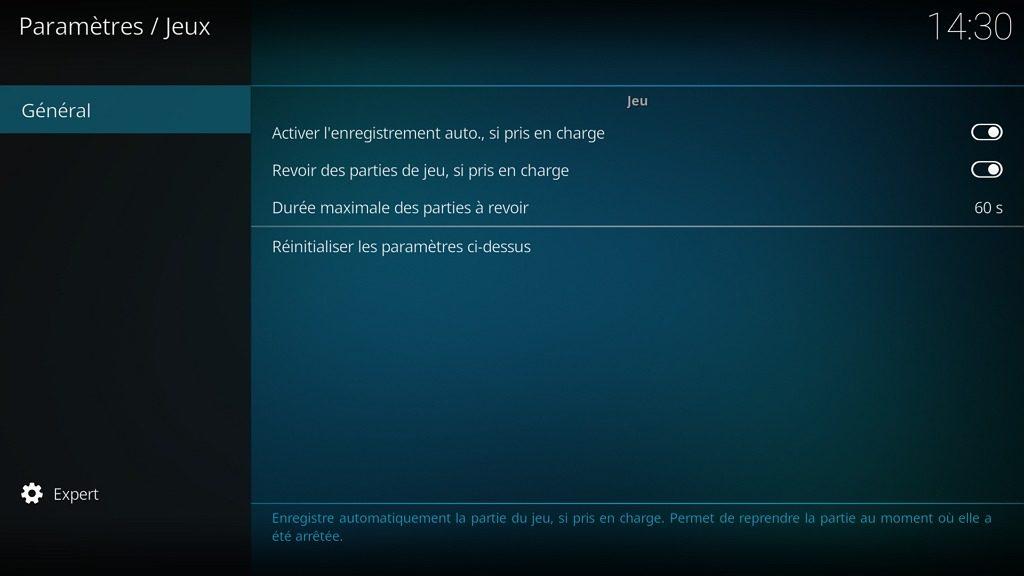 """Capture d'écran de l'application Kodi, onglet """"Général"""" des paramètres """"Jeux""""."""