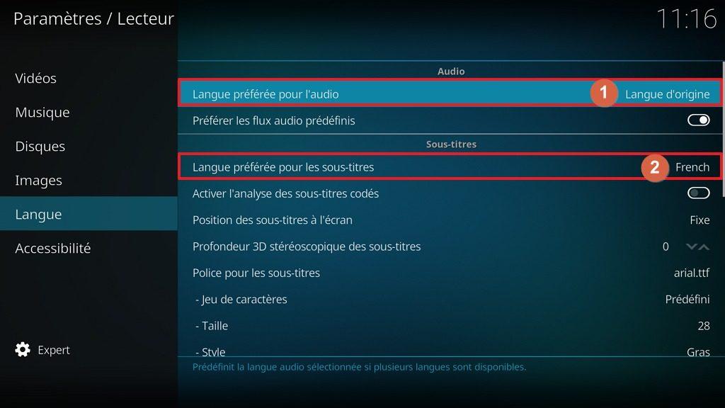 "Capture d'écran de l'application Kodi, onglet ""Langue"" de l'écran ""Lecteur"" des paramètres."