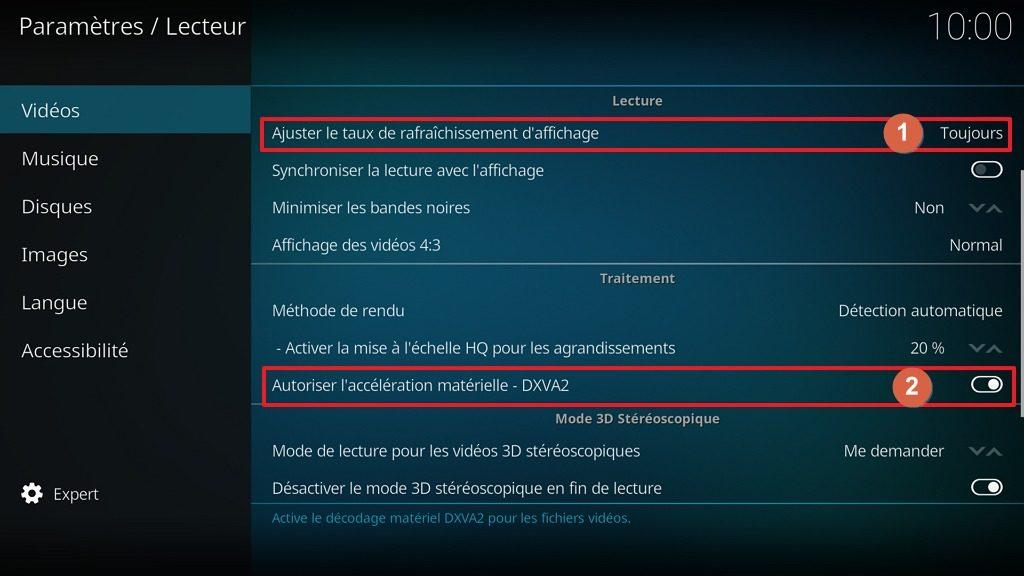 Capture d'écran de l'application Kodi, onglet Vidéos de la page Lecteur des paramètres.