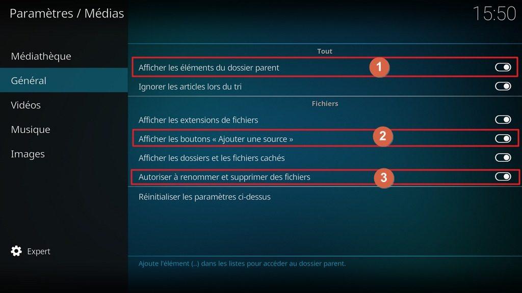"""Capture d'écran de l'application Kodi, onglet """"Général"""" des paramètres """"Médias""""."""