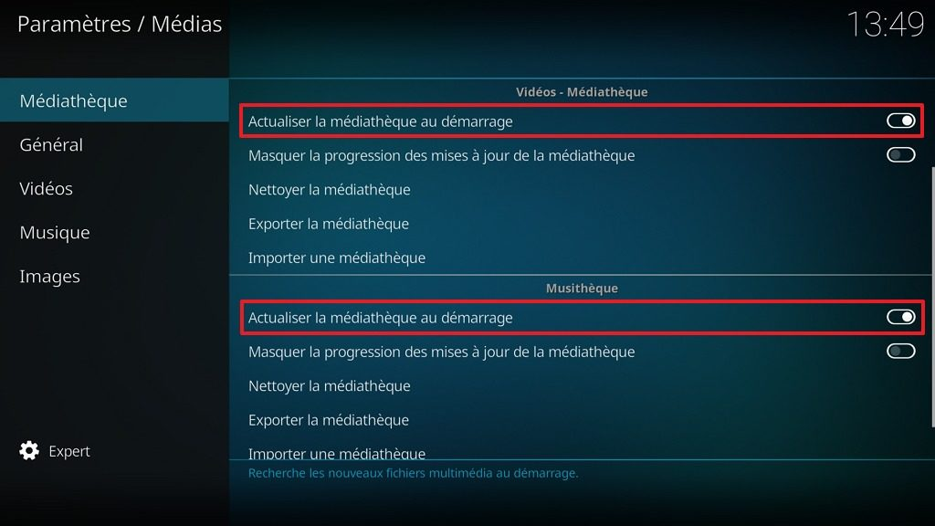Capture d'écran de l'application Kodi