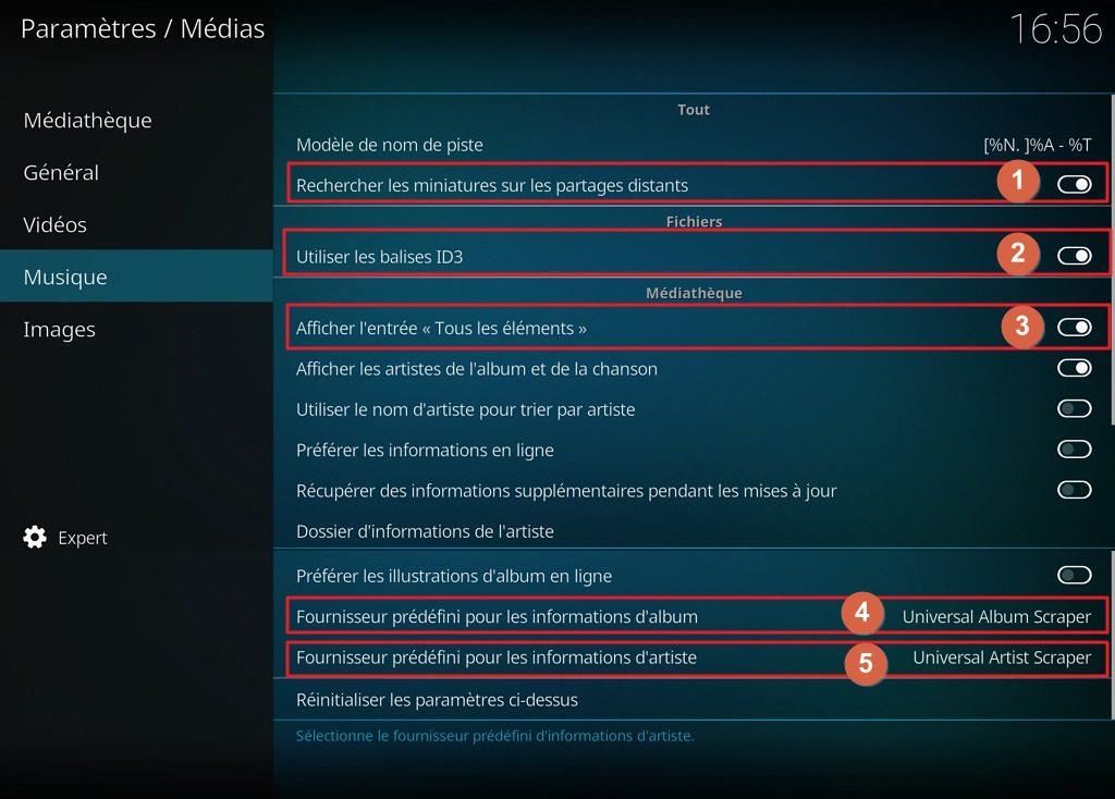 """Capture d'écran de l'application Kodi, onglet """"Musique"""" des paramètres """"Médias""""."""