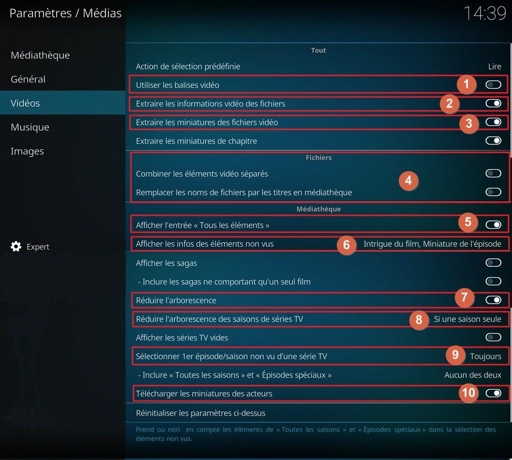 """Capture d'écran de l'application Kodi, onglet """"Vidéos"""" des paramètres """"Médias""""."""