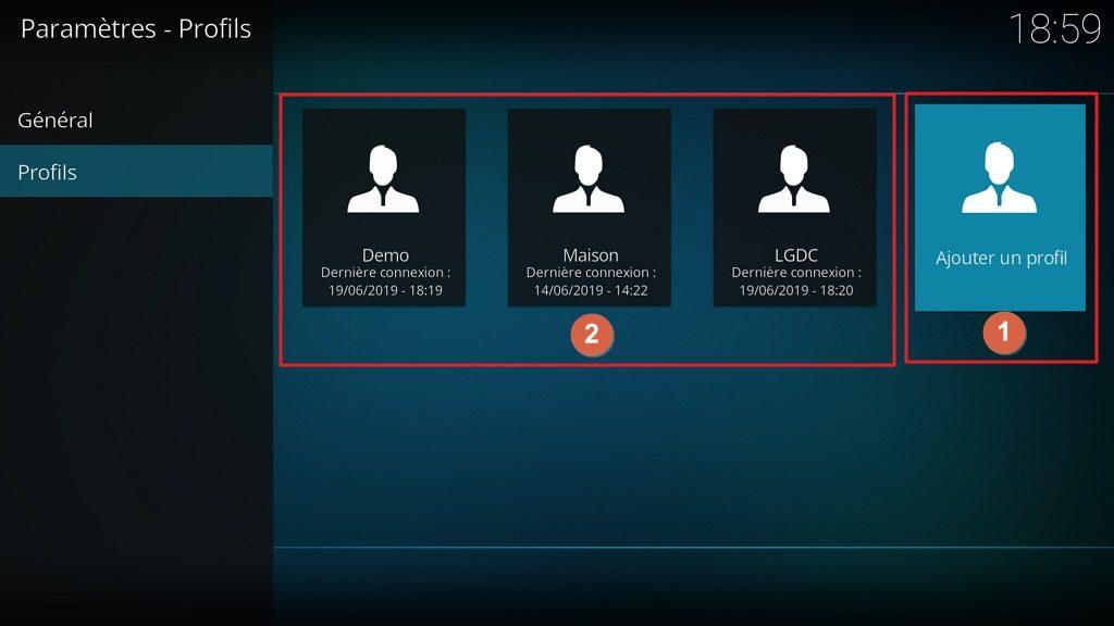 """Capture d'écran de l'application Kodi, onglet """"Profils"""" des paramètres """"Profils""""."""