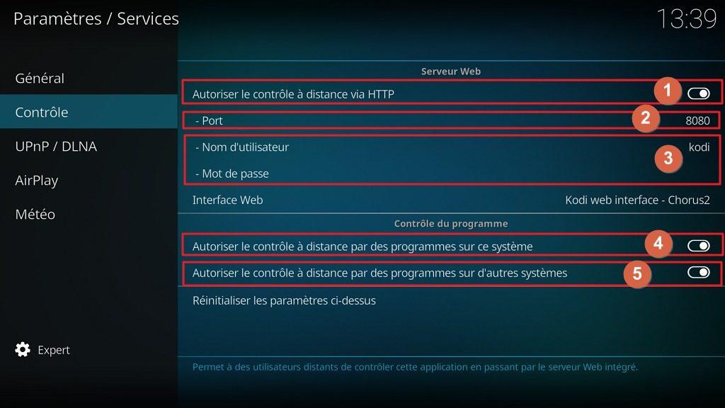 """Capture d'écran de l'application Kodi, onglet """"Contrôle"""" des paramètres """"Services""""."""