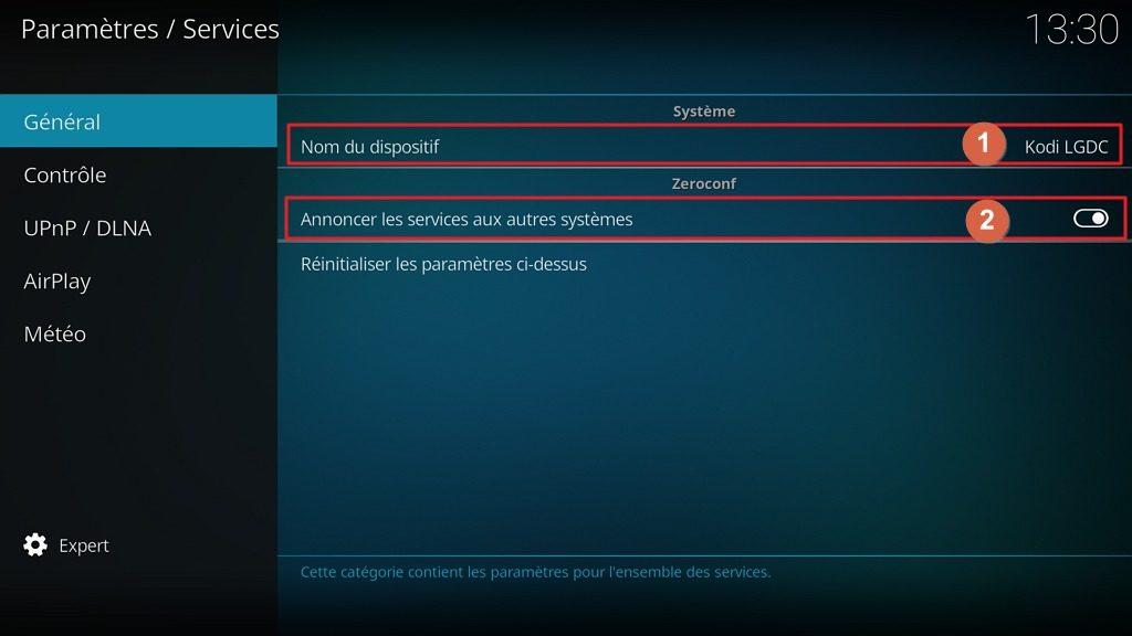 """Capture d'écran de l'application Kodi, onglet """"Général"""" des paramètres """"Services""""."""
