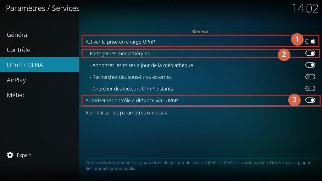 "Capture d'écran de l'application Kodi, onglet ""UPnP / DLNA"" des paramètres ""Services."
