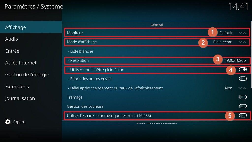 """Capture d'écran de l'application Kodi, onglet affichage des paramètres """"Système""""."""