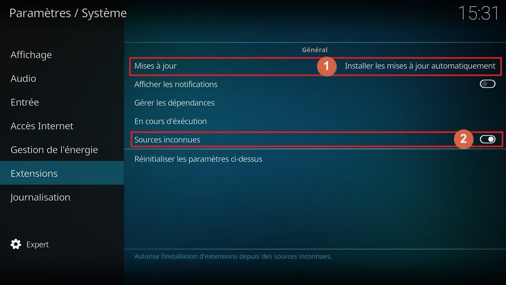 """Capture d'écran de l'application Kodi, onglet """"Extensions"""" des paramètres """"Système""""."""