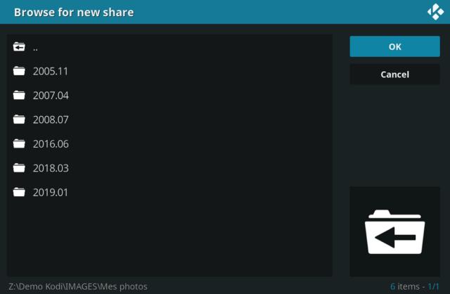 """Capture d'écran de l'application Kodi, fenêtre """"Rechercher un nouveau partage""""."""