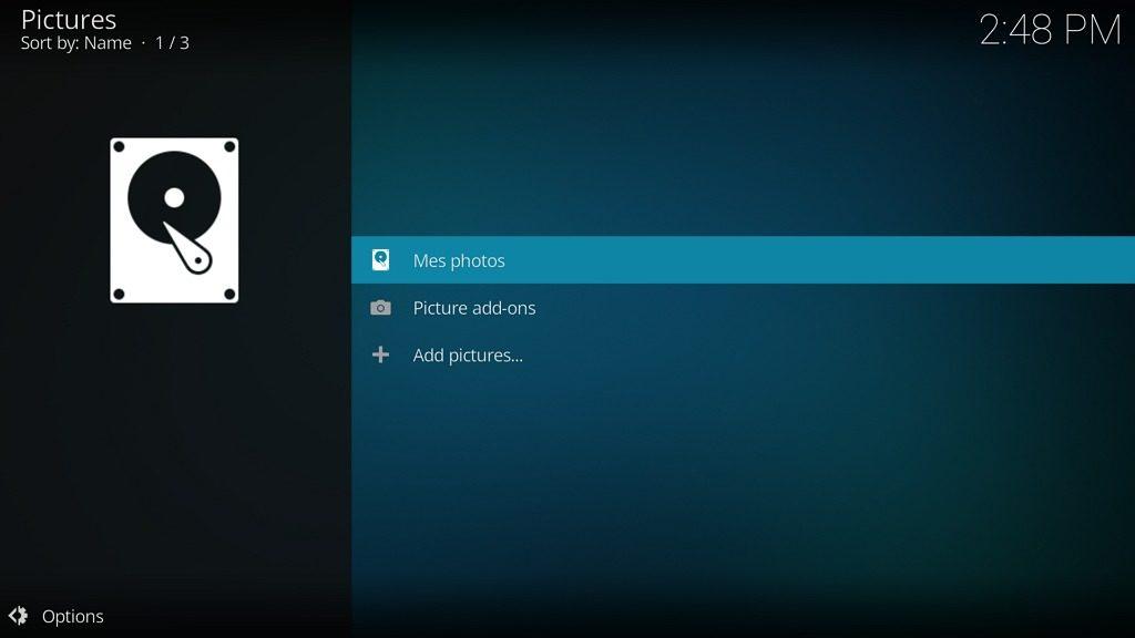 """Capture d'écran de l'application Kodi, source """"Images"""" ajoutée."""