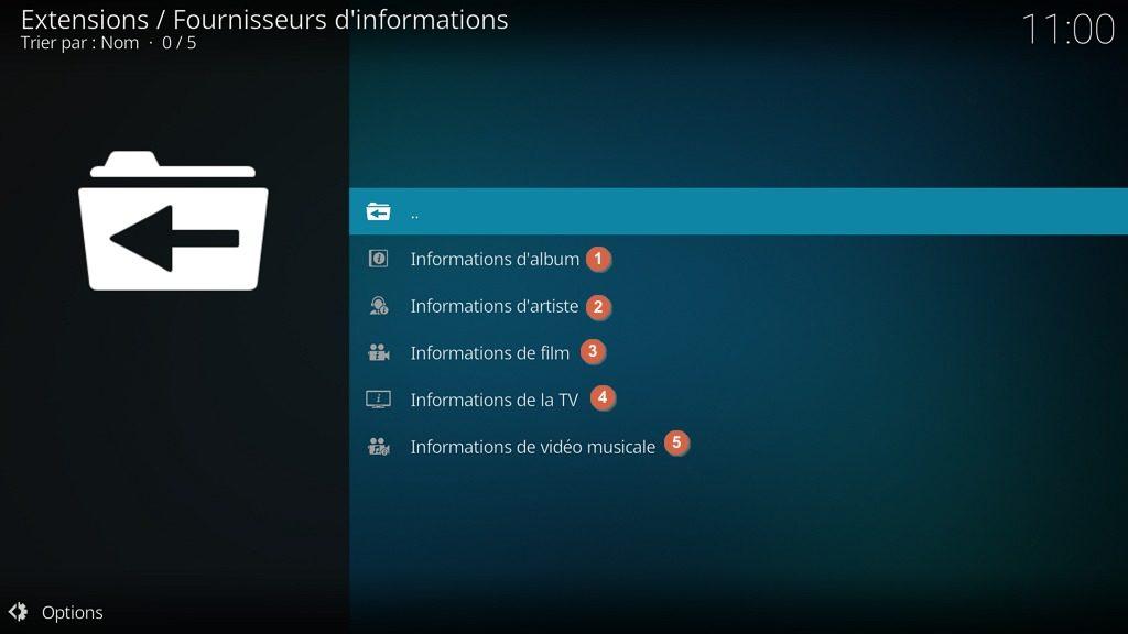 """Capture d'écran de l'application Kodi, sous-catégories des extensions """"Fournisseurs d'informations""""."""