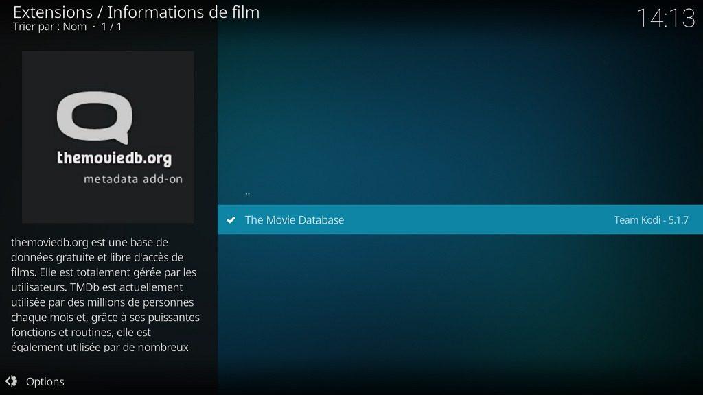 """Capture d'écran de l'application Kodi, sous-catégorie """"Informations de film"""" de la catégorie d'extensions """"Fournisseurs d'informations""""."""