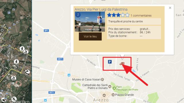 Capture d'écran du site park4night : lieux trouvés