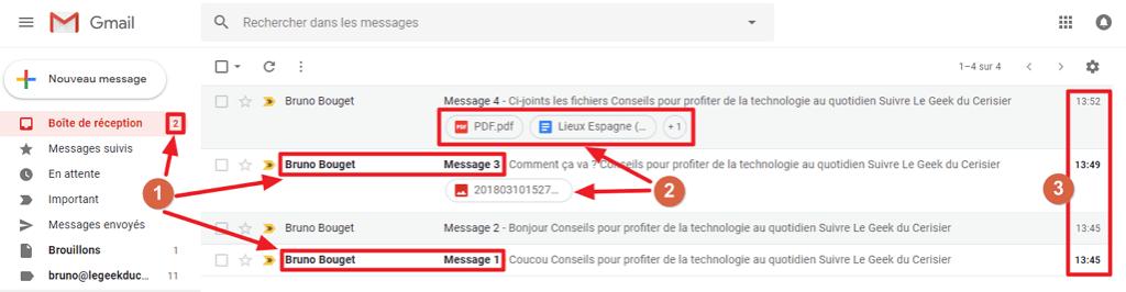 Capture d'écran du site Gmail, liste des messages.