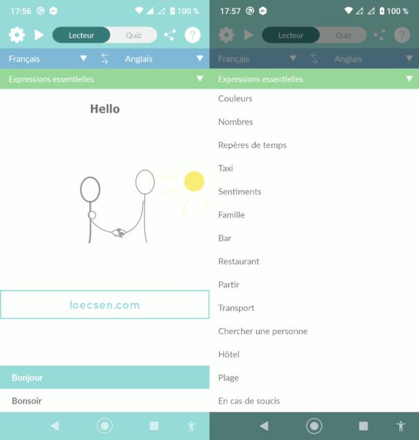 Capture d'écran de l'application Android Loecsen.
