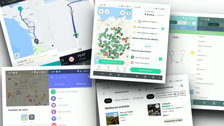 Assemblage captures applications Android voyages et infos locales