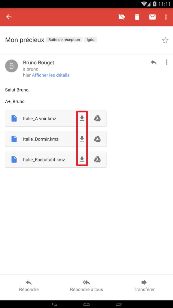 Capture d'écran mail avec fichiers kmz en pièces jointes