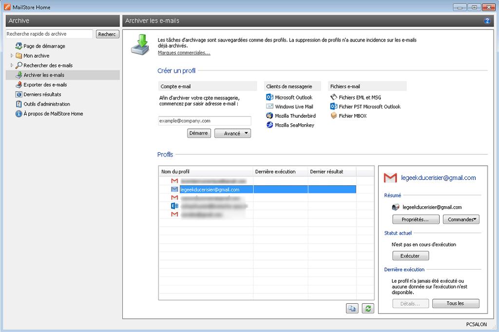 """Capture d'écran de l'application Windows """"MailStore Home""""."""